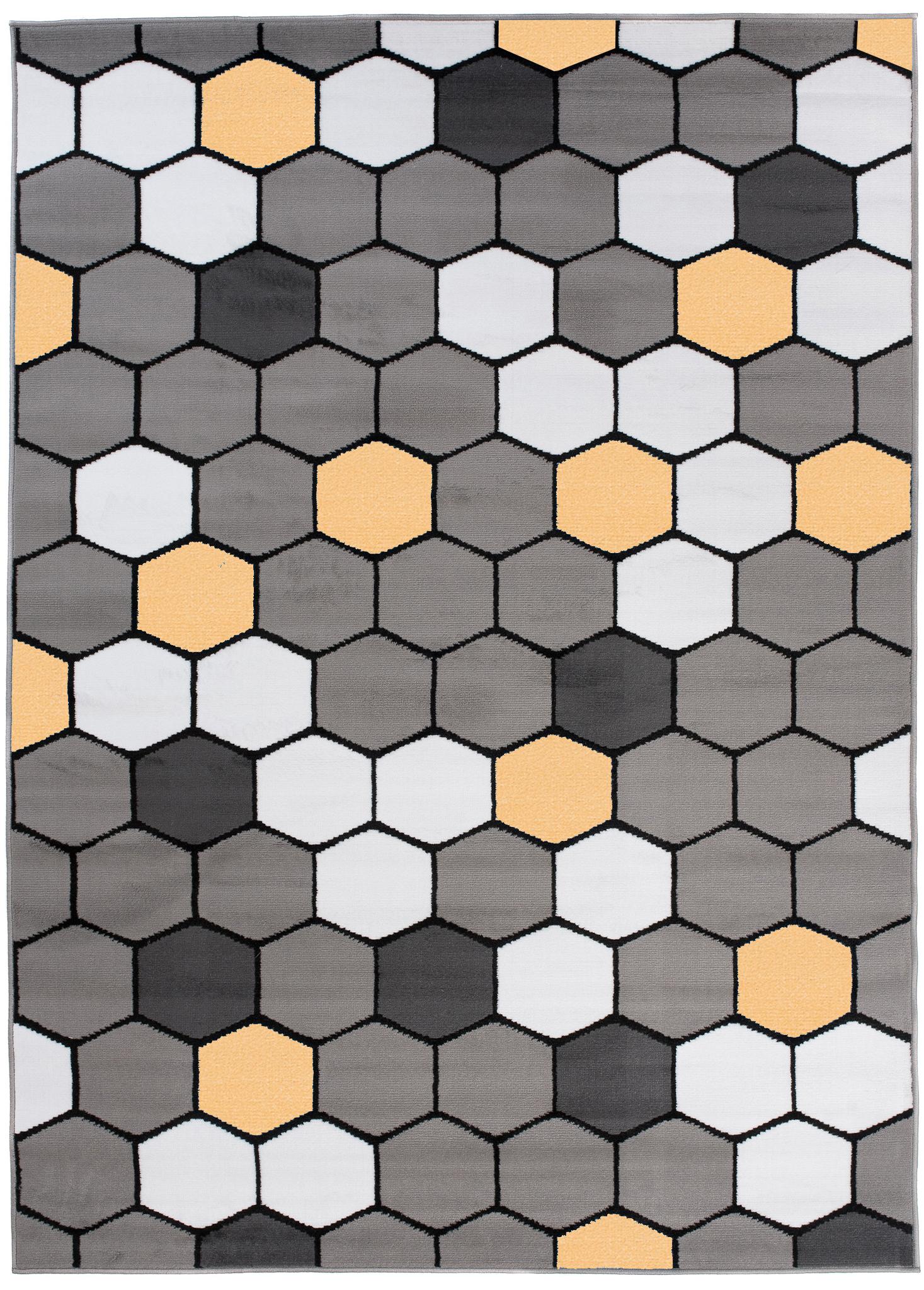 Dywan młodzieżowy PINKY Wzór geometryczny szary