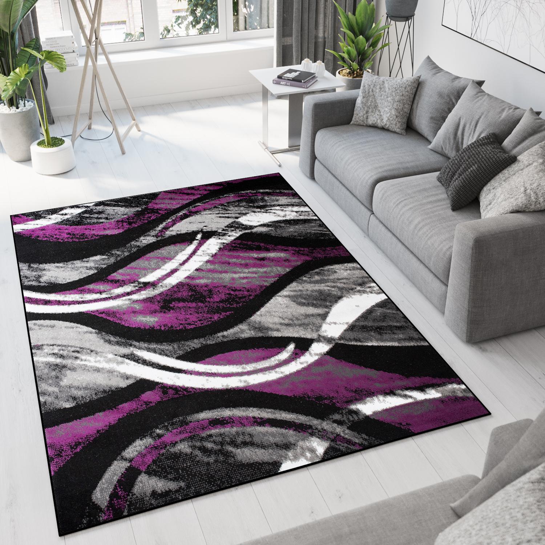 Dywan nowoczesny C513D BLACK/ BALI PP fioletowy
