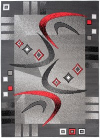 Dywan nowoczesny C583D BLACK/ BALI PP czerwony